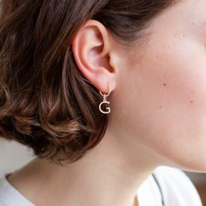 Sterling Silver Hoop Earrings with Chosen Contemporary Style Initial Charm