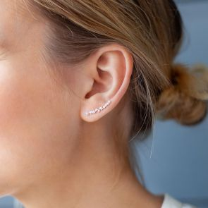 Sterling Silver Star Crystal Climber Earrings