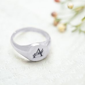 Sterling Silver Floral Signet Ring Personalised with a Floral Initial