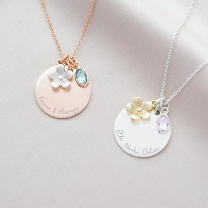 Message Disc, Flower and Oval Birthstone Personalised Necklace