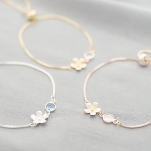 Flower Charm and Birthstone Slider Bracelet in Gold, Silver and rose gold