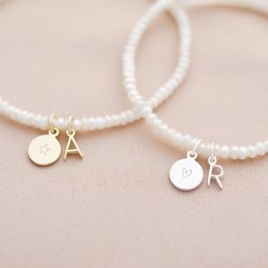 Pearl Bracelet with Letter and Disc Charm Available in Sterling Silver and Gold Plated Sterling Silver