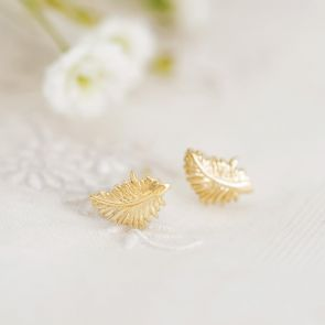 Gold Plated Sterling Silver Leaf Stud Earrings