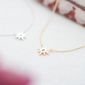 Personalised Guiding Star Birthstone Necklace