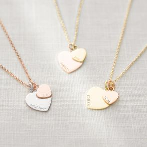 Sterling Silver Double Heart Charm Personalised Necklace in Mixed Metal