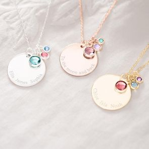 Personalised Birthstone and Disc Necklace
