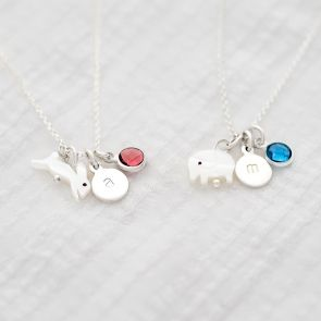 Sterling Silver Pearl animal and Birthstone Necklace