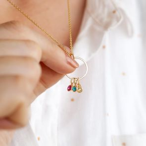 Micro Birthstone  on Halo Charm Personalised Necklace