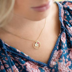 flower charm and halo charm with birthstone necklace