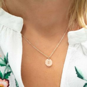 Rose Gold Disc Necklace Personalised With Hand Stamped Initial