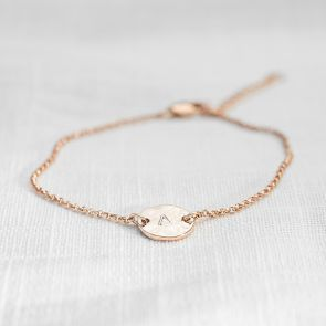 Personalised Hammered Initial Disc Bracelet