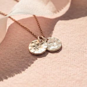 Hammered Initial Disc Personalised Necklace