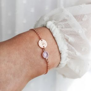 Hammered Texture Disc Initial Rose Gold Bracelet with Birthstone Charm