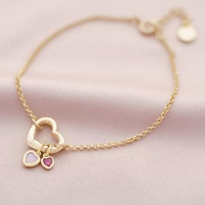 champagne gold plated heart clasp and heart birthstone charm bracelet