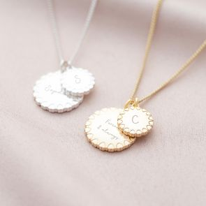 Heart Edge Family Disc Personalised Message Necklace