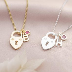 Heart Lock, Letter and Heart Birthstone Charm Personalised Necklace