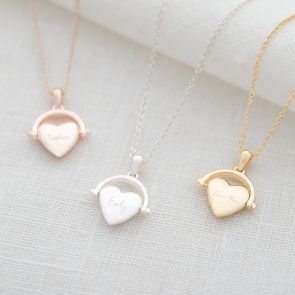 heart spinner pendant necklace in sliver, rose gold and gold