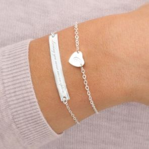 Sterling Silver Heart And Bar Personalised Bracelet Set