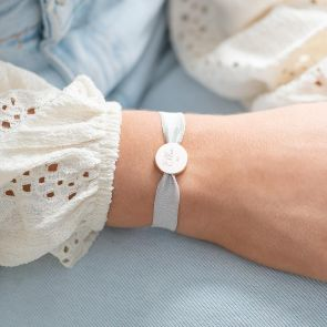 grey cord and rose gold disc charm name bracelet