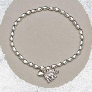 Helena Silver Elephant Personalised Bracelet