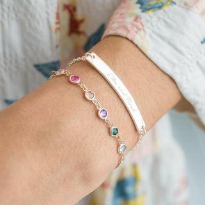 MIni Swarovski Birthstone Charm Bracelet and Message Bar Bracelet Set