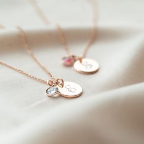 Script Style Initial on Rose Gold Disc Necklace with Birthstone charm