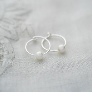 Isabella Pearl Hoop Earrings