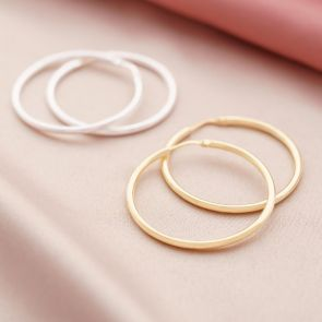 classic sterling silver and gold plated sterling silver hoop earrings