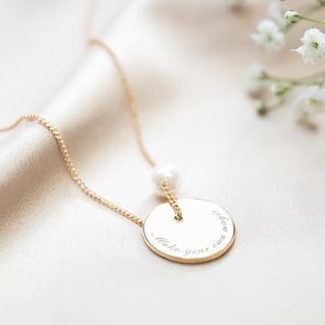 Jessie Initial Disc And Pearl Personalised Name Necklace