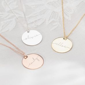 Large Name Disc Pendant Available in three colourways; Silver, Gold and Rose Gold