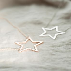 Large Open Star Personalised Necklace