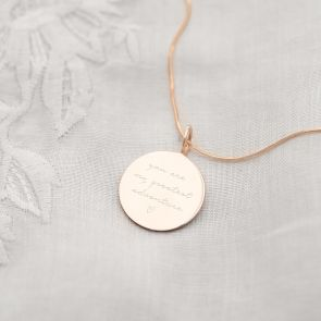 Rose Gold Plated sterling Silver Disc Necklace Personalised with a Message