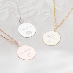 Large Disc Sterling Silver Necklace Personalised with name and Illustration