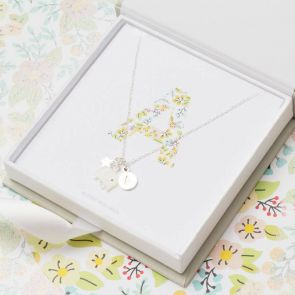 Libby Floral Initial Charm Personalised Necklace