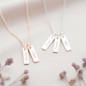 Rose Gold Lola Sterling Silver Bar Personalised Name Necklace