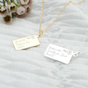 Rectangle Pendant Necklace In Silver or Gold Personalised with an Address