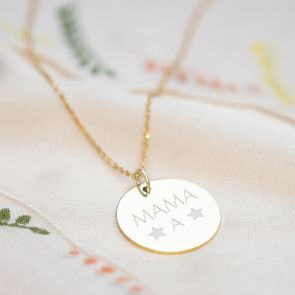 Gold Plated disc Pendant With Two Stars and Mama Personalised With Contemporary Initial