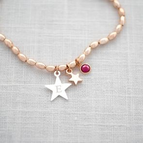 Star Bead Bracelet Personalised with Initial and Birthstone Charm