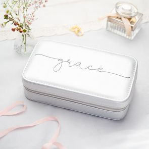 Silver Medium Jewellery Box Personalised with Modern Script Name