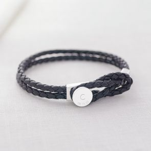 mens leather initial and date bracelet