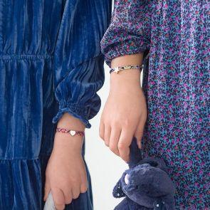 Mini Liberty Print Charm Personalised Sterling Silver Kids Bracelet