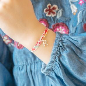 Children's Printed Fabric Bracelet With Sterling Silver Contemporary Letter Charm