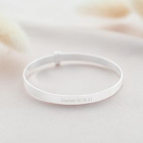 sterling silver baby christening bangle personalised with name and date