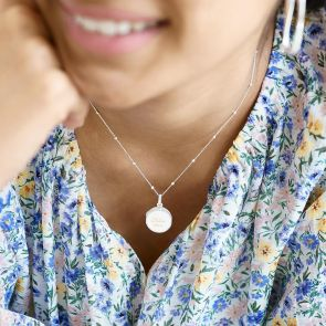 Sterling Silver Mother of Pearl Locket Necklace Personalised with Chosen Name and Date on Satellite Chain