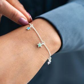 Silver Plated Multi Star Birthstone Bracelet