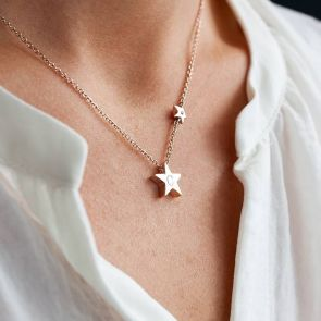 "Silver Necklace chain with Star Charm Engraved with Initial ""C"" and smaller star charm worn around Neck"