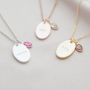 Name and BIrthstone Personalised Oval Disc Necklace