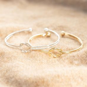 Silver and Gold Plated Eternity knot cuff Bangle