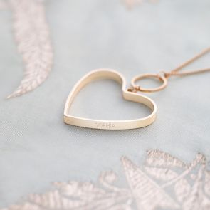 heart necklace with personalised contemporary style name
