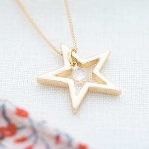 Champagne Gold and Moonstone Personalised Open Star Necklace